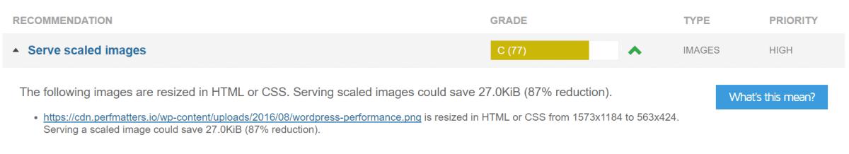 gtmetrix serve scaled images