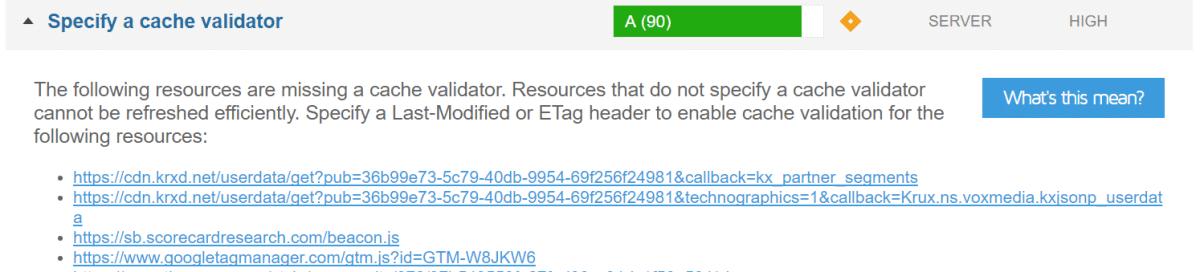 gtmetrix specify a cache validator