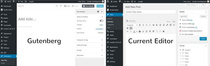Comparing Gutenberg vs current editor