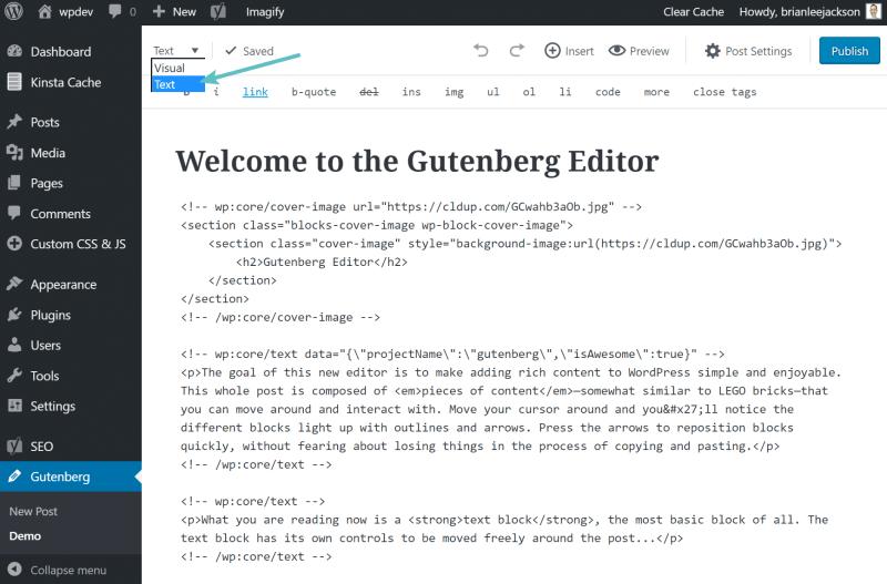 gutenberg text editor