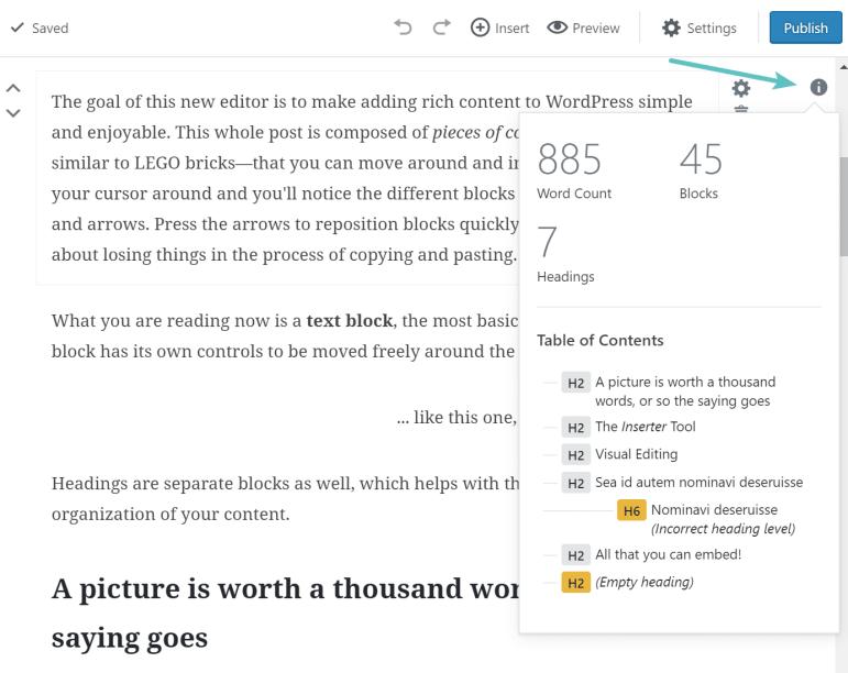 Kata Gutenberg dan jumlah blok