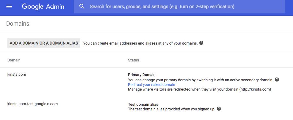G Suite domain alias