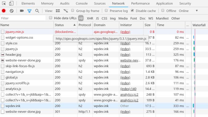 Chrome DevTools network