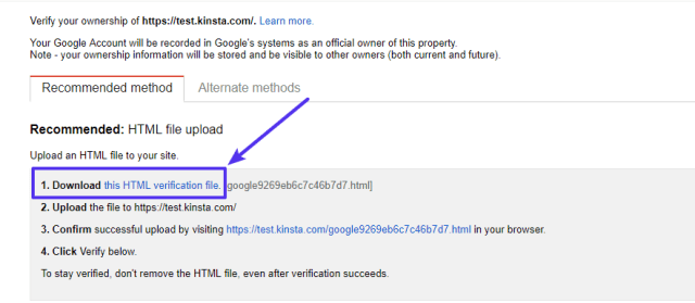 Download HTML verification file