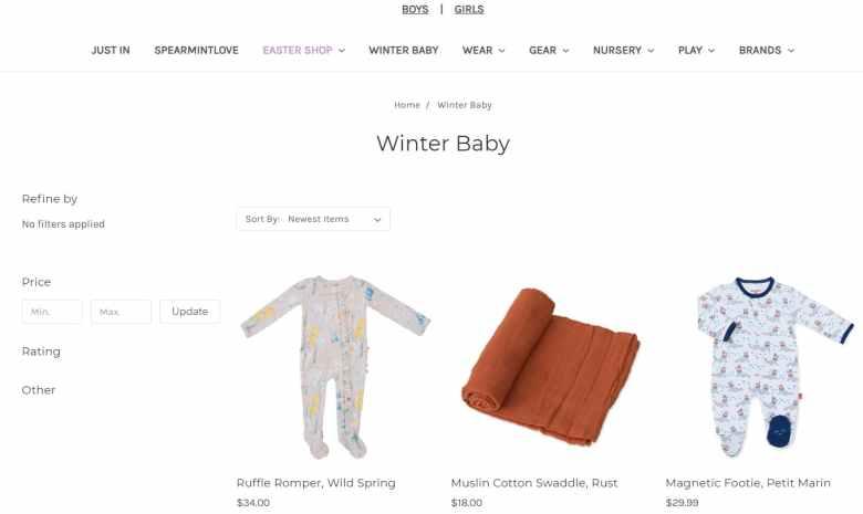Sito di e-commerce di vestiti per bambini