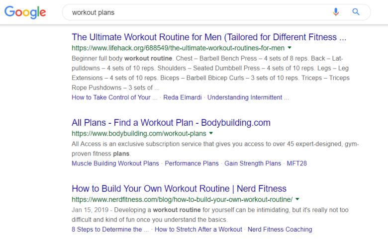 Piani di allenamento Ricerca Google