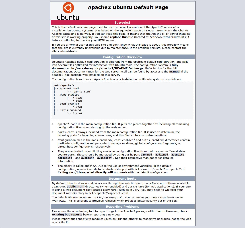 Ubuntu default page