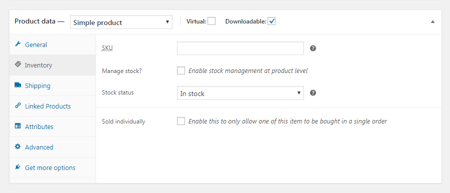 WooCommerce Inventory tab