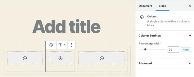 The Columns block in WordPress 5.3