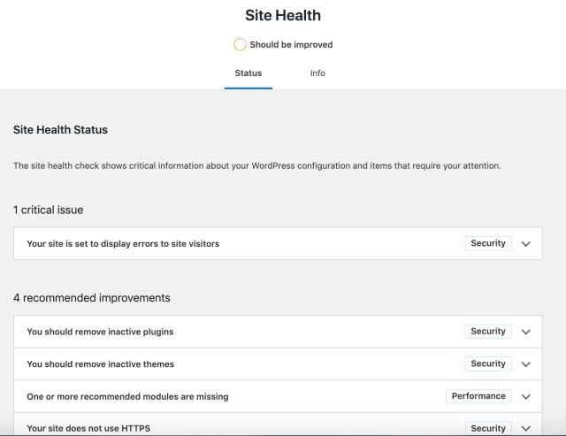 Site Health Status page in WordPress 5.3