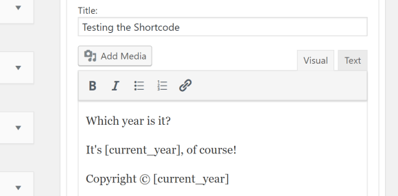 Testing the current year shortcode by placing it in the sidebar text widget