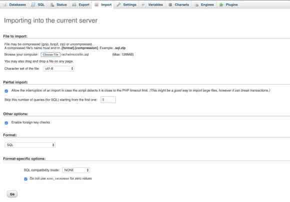 Uploading database tables