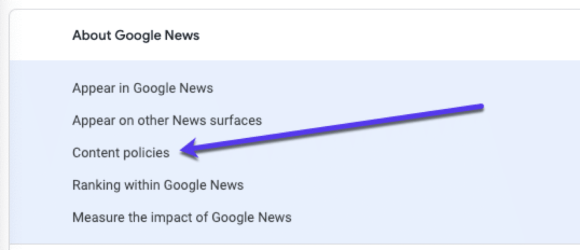 google news content policies