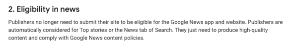 Google News' content policies