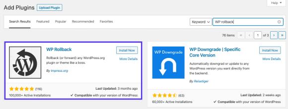 Installing WP Rollback plugin