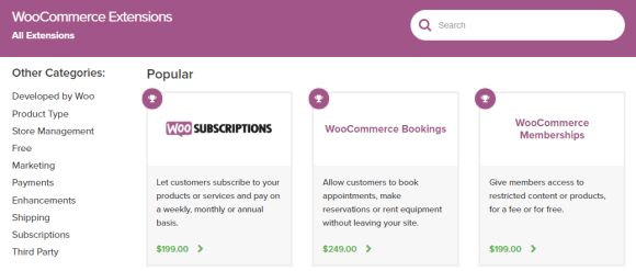WooCommerce Extensions Store page