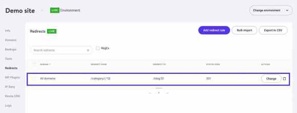 Adding a wildcard redirect in MyKinsta