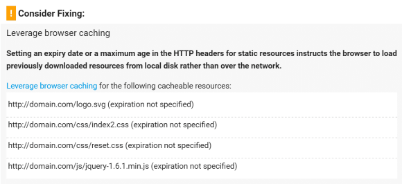 Resources listed in the Leverage Browser Caching warning