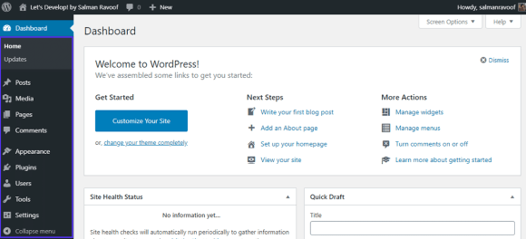 The default WordPress dashboard for all users