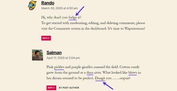 Comments with dummy profane words which are still uncensored