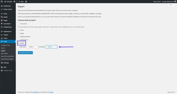 Exporting WordPress media