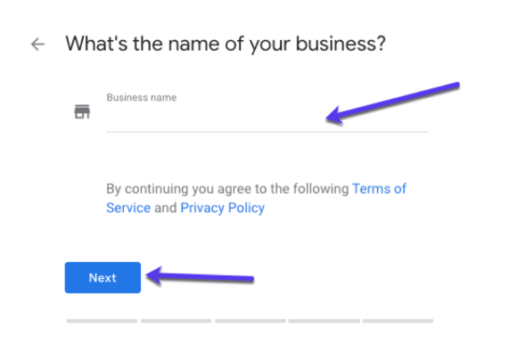 Adding your business name to GMB