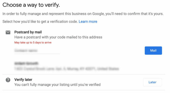 Choose a method for verifying your listing