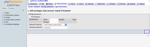 database change password