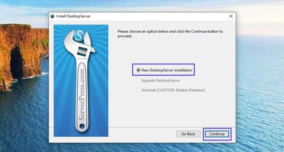 new desktopserver installation