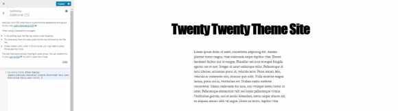 new font twenty twenty theme customizer