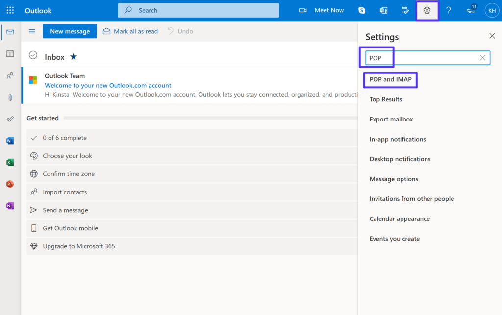 How to access the POP settings