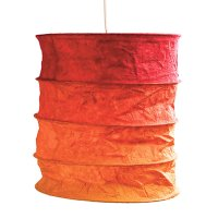 Lokta Paper Lampshade - Nevada red orange - www.kioase.de