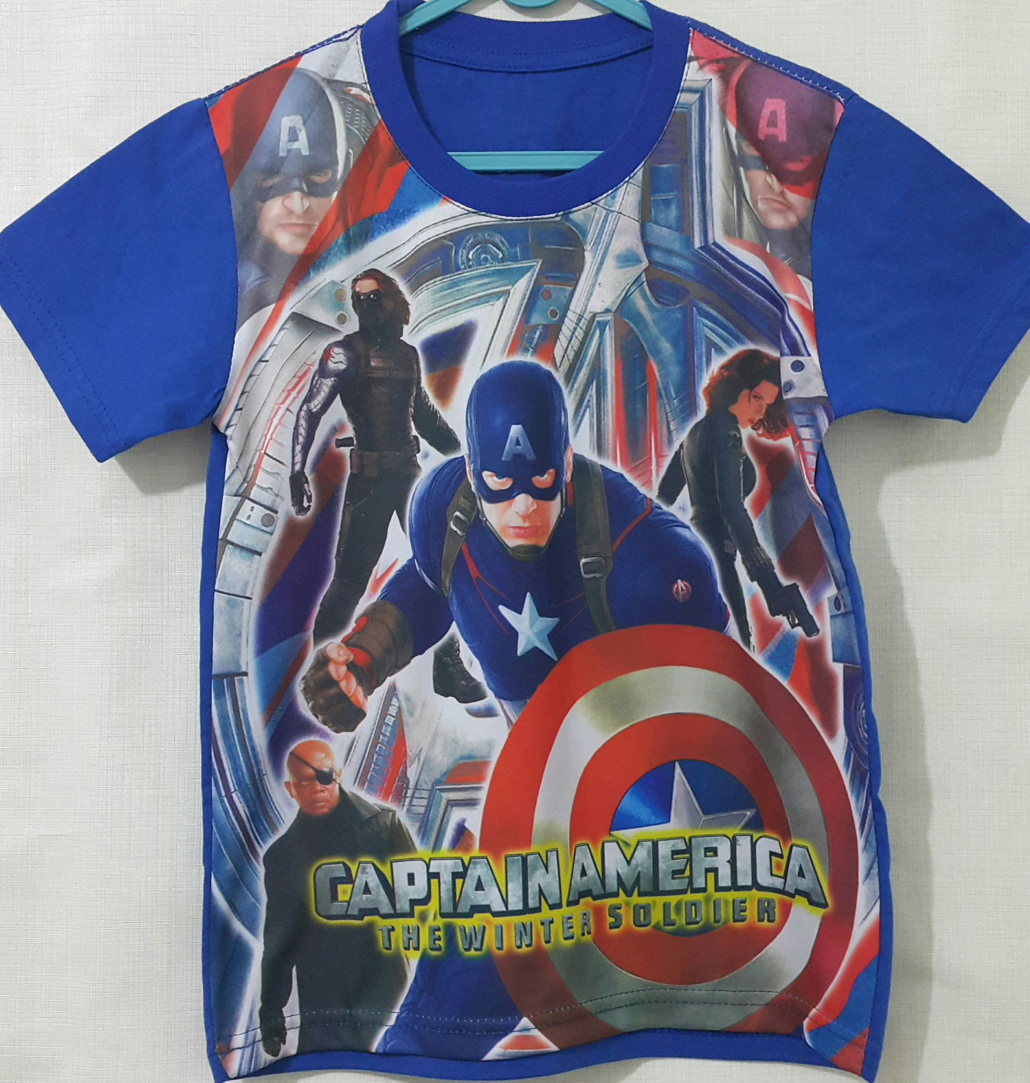 kaos printing captain america blue16  GrosirEceran