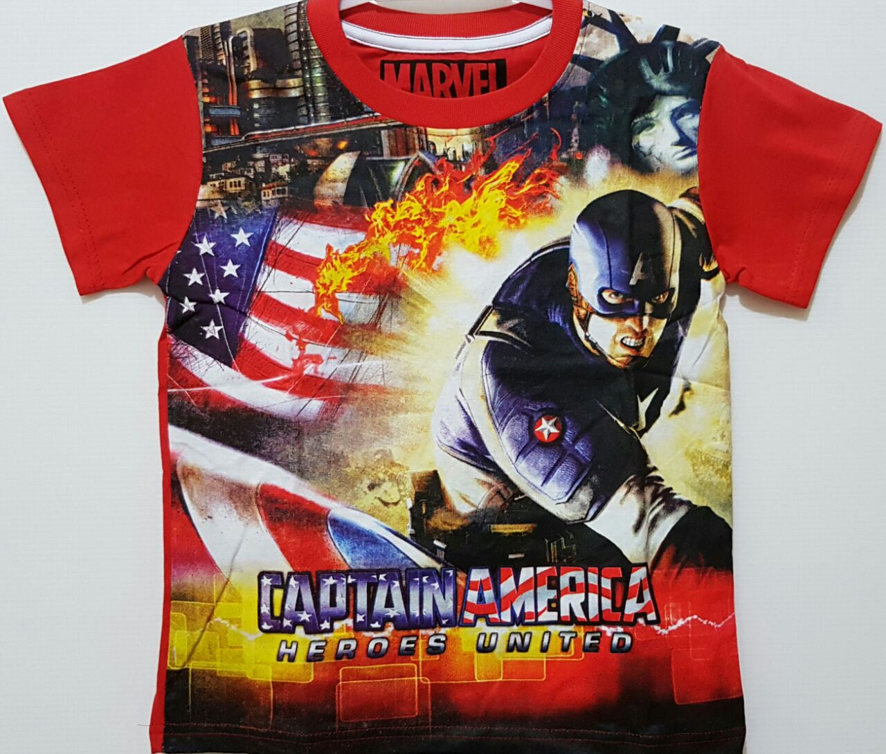 kaos anak captain america heroes united red 16 marvel