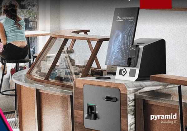 Pyramid kiosk cash kiosk station