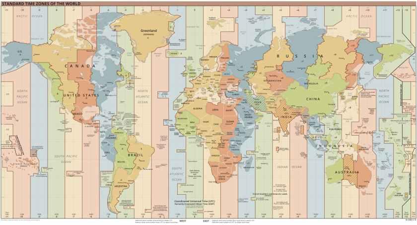 Mapa de zonas horarias del mundo