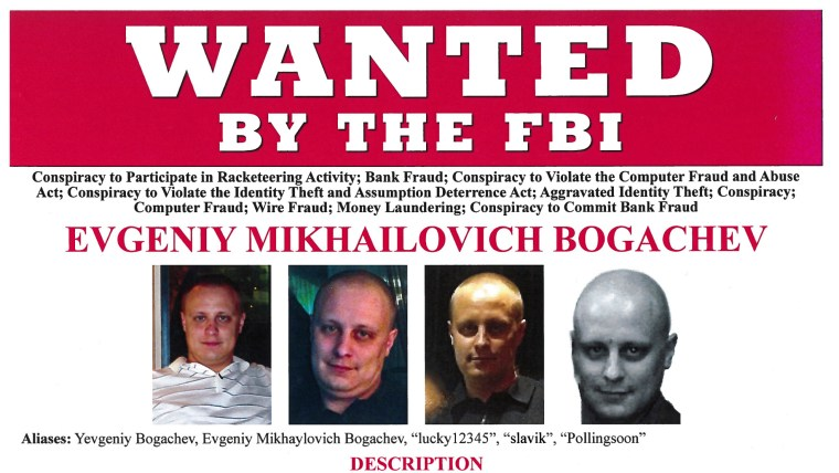 Russian national Evengiy Bogachev is shown in this Federal Bureau of Investigation (FBI) Wanted Poster in this handout provided by the FBI in Washington, D.C. February 24, 2015. The U.S. State Department and the FBI on Tuesday announced a $3 million reward for imfornation leading to the arrest or conviction of Bogacheve, the highest bounty U.S. authorities have ever offered in a cyber case. REUTERS/FBI/Handout via Reuters (UNITED STATES - Tags: CRIME LAW SCIENCE TECHNOLOGY)ATTENTION EDITORS - FOR EDITORIAL USE ONLY. NOT FOR SALE FOR MARKETING OR ADVERTISING CAMPAIGNS. THIS PICTURE WAS PROVIDED BY A THIRD PARTY. REUTERS IS UNABLE TO INDEPENDENTLY VERIFY THE AUTHENTICITY, CONTENT, LOCATION OR DATE OF THIS IMAGE. THIS PICTURE IS DISTRIBUTED EXACTLY AS RECEIVED BY REUTERS, AS A SERVICE TO CLIENTS - RTR4R0V9