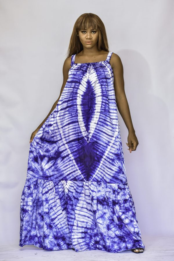 Amber Blue Adire silk batik gown - Kipfashion