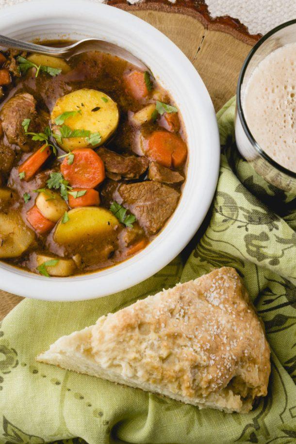 Irish Lamb Stew with Soda Bread and Guinness, Lamb Stew, Guinness Stew, Easy Recipes #irishsodabread #irishstew #kippiathome