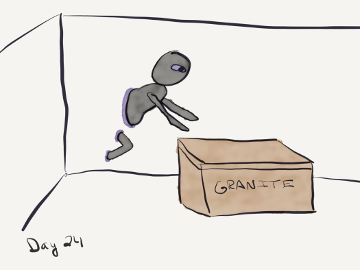"Sketch. A room, white floor and walls. A brown box with ""granite"" written on the side stands in the center of the room. A horror squid, round head, purple eyes, no mouth or nose or ears, plus half its torso, two arm-like tentacles, and a portion of a leg-like tentacle, are extended out from the wall. Where the creature intersects the wall is a purple glow. The creature is reaching for the box."