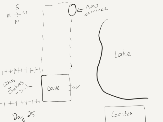 """Sketch, well, more like a map, as it's an overhead view. The right side is taken up by a lake. The left bottom quadrant shows the cave's main entrance, behind it a fenced-in area for cows and chickens and such, and just below the right edge of the lake an area marked """"garden"""". from the cave, a dotted outline indicates the new cave entrance at the top of the sketch, near the lake."""