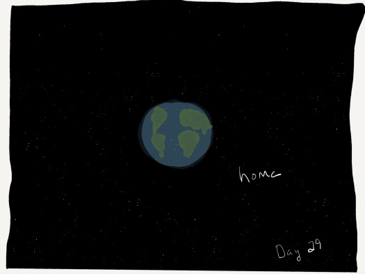 "Sketch. A black background looking like a star field. In the center, a blue ball with green shapes on it resembling Earth, labeled ""home""."