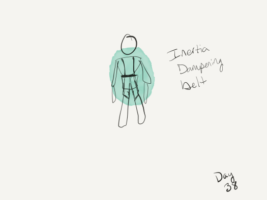 Sketch of a human figure wearing a dampening belt, which is more like a harness (shoulder straps, leg straps, belt in the center). The harness is surrounded by a green glow which covers the torso, most of the arms, part of the legs and head.