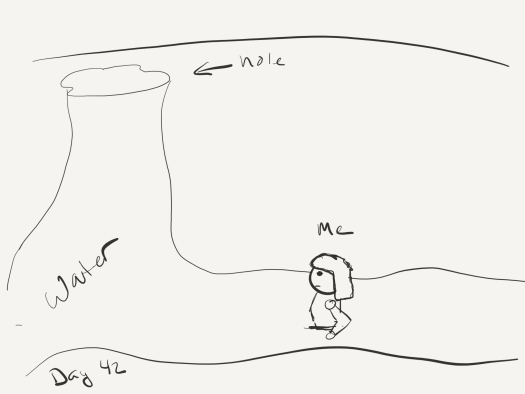 Really bad sketch (author is not exaggerating) in black and white of a hole at the top of a cave with water pouring down and the author standing in it waist-deep.
