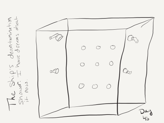 "Black and white sketch of a shower stall roughly the size of a standard American bathtub, with shower heads on all the walls as described in the post. Labelled ""The ship's decontamination shower. I have dreams about it now."""