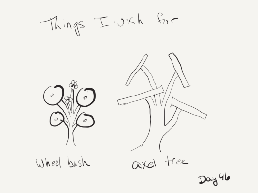 "Bad black and white sketch of the author's idea of what a wheel bush and an axel bush would look like. Essentially small saplings with wheels or axels at the ends instead of leaves. Labeled ""things I wish for: wheel bush, axel tree""."
