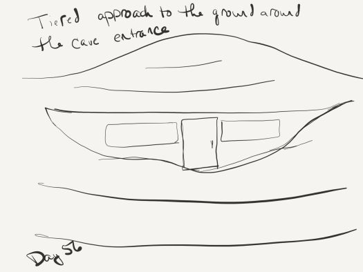 Black and white line sketch of the author's cave entrance. It has terraces of dirt proceeding up the face of the hill the door and windows are embedded in. End result is that it looks quite a bit like an old bald head with many wrinkles wrapped in a scarf or two.