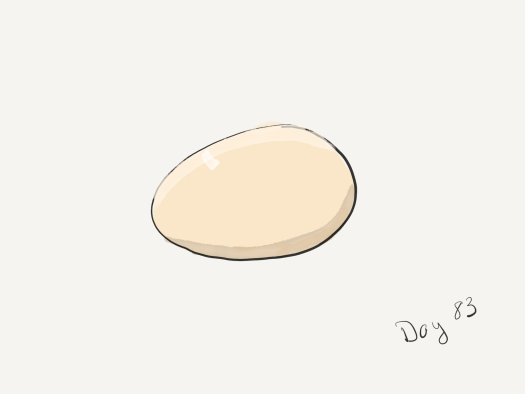 A single tan egg. Watercolor, with a bit of shading. The author is getting a little fancier with the art lately.