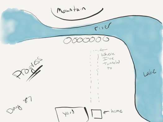 map with some watercolor indicating the path from the main cave up to the river to the north.