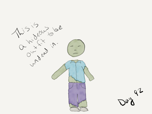 "Watercolor of a zombie wearing purple pants and a teal shirt... and green skin. Captioned  ""this is a hideous outfit to be undead in."""